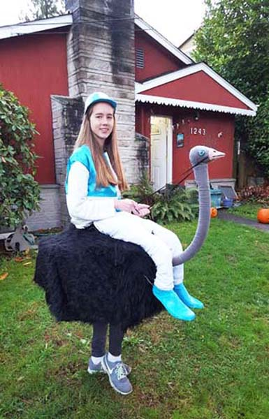 Maddy riding an ostrich